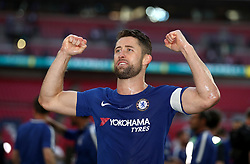 Chelsea's Gary Cahill celebrates victory after the game