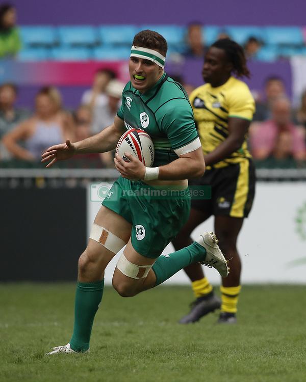April 6, 2018 - Hong Kong, HONG KONG - Shane Daly (5) of Ireland in action against Jamaica during the 2018 Hong Kong Rugby Sevens at Hong Kong Stadium in Hong Kong. (Credit Image: © David McIntyre via ZUMA Wire)