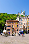 Foviere above old town Vieux Lyon, France (UNESCO World Heritage Site)