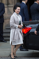 © Licensed to London News Pictures . 23/10/2015 . Manchester , UK . The Chinese president's wife PENG LIYUAN , leaves Manchester Town Hall during a Chinese state visit to the United Kingdom . Photo credit: Joel Goodman/LNP