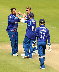 Gloucestershire celebrate the wicket of Durham's Graham Clark - Mandatory by-line: Robbie Stephenson/JMP - 07966386802 - 04/08/2015 - SPORT - CRICKET - Bristol,England - County Ground - Gloucestershire v Durham - Royal London One-Day Cup