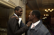 Audley Harrison and Chris Eubank. The City Fashion Show and dinner in aid of the NSPCC. Harrod's. 10 October 2000. © Copyright Photograph by Dafydd Jones 66 Stockwell Park Rd. London SW9 0DA Tel 020 7733 0108 www.dafjones.com