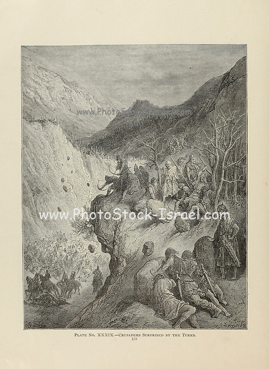 Crusaders surprised by the Turks Plate XXXIX from the book Story of the crusades. with a magnificent gallery of one hundred full-page engravings by the world-renowned artist, Gustave Doré [Gustave Dore] by Boyd, James P. (James Penny), 1836-1910. Published in Philadelphia 1892