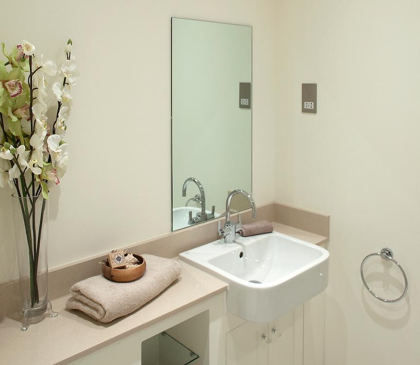 bathroom interior sink flowers towel,