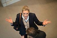 DEU, Deutschland, Germany, Berlin, 29.11.2018: Die Vorsitzende der AfD-Bundestagsfraktion, Alice Weidel, hier mit Stephan Brandner (AfD) nach der Abstimmung zum UN-Migrationspakt bei der Plenarsitzung im Deutschen Bundestag.