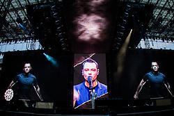 June 16, 2017 - Milan, Italy - The Italian pop singer Tiziano Ferro pictured on stage as he performs at Stadio Giuseppe Meazza San Siro. (Credit Image: © Roberto Finizio/Pacific Press via ZUMA Wire)
