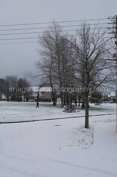 Snow field in suburban in Dublin Ireland