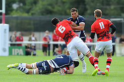 London Welsh Flanker Dan Leo is challenged by Bristol Rugby Fly-Half Gavin Henson and Flanker Olly Robinson - Mandatory byline: Dougie Allward/JMP - 07966 386802 - 13/09/2015 - RUGBY UNION - Old Deer Park - Richmond, London, England - London Welsh v Bristol Rugby - Greene King IPA Championship.
