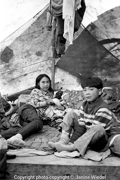 Children living in tent. Summer Inuit family  life in the Canadian Arctic settlement of Pangnirtung in the territory of Nunavut (North West Territories) 1973