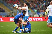 Leonardo SARTO / Maxime MERMOZ / Bernard LE ROUX - 15.03.2015 - Rugby - Italie / France - Tournoi des VI Nations -Rome<br /> Photo : David Winter / Icon Sport