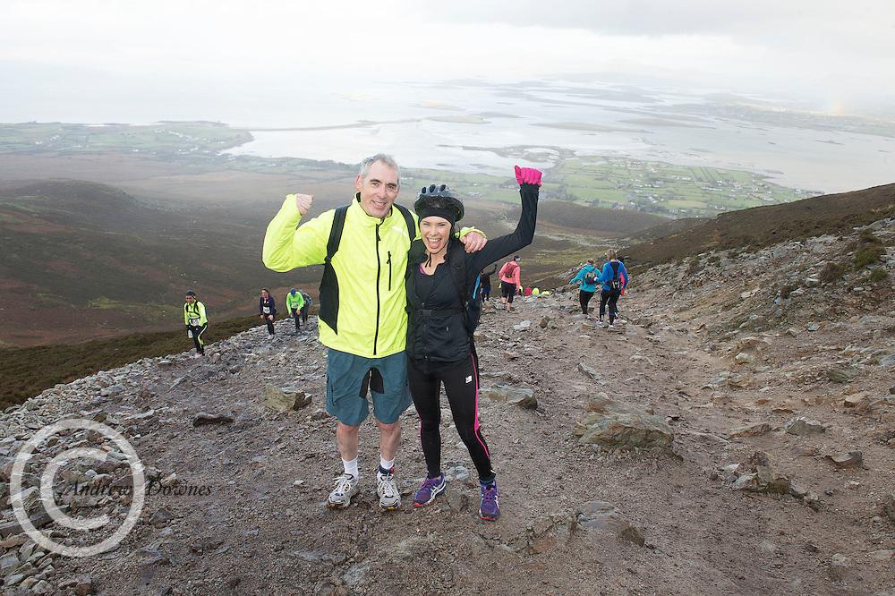 08/11/2014 repro free  Martin Gillen Westport and Irene Gillen Galway  on Croagh Patrick  in the Sea 2 Summit adventure race in Westport Co. Mayo. Photo:Andrew Downes