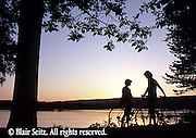 Bicycling, Pennsylvania, Outdoor recreation, Youth Biking at Sunset, Susquehanna River, Harrisburg, PA, Couples Romance Bicycling