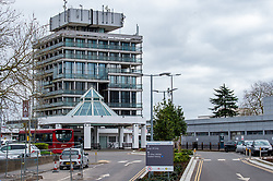 © Licensed to London News Pictures. 13/03/2020. Slough, UK. The entrance and main building at Wexham Park Hospital. Staff at a hospital in Berkshire have tested positive for the COVID-19 coronavirus after a patient was also diagnosed. The elderly care ward at Wexham Park Hospital in Slough has been temporarily closed to new admissions for two weeks. Frimley Health NHS Foundation Trust said staff affected are self-isolating. Photo credit: Peter Manning/LNP