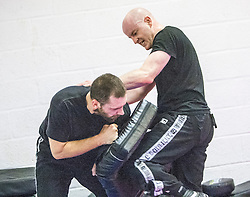 Students practising. Stef Noij, KMG Instructor from the Institute Krav Maga Netherlands, takes the IKMS G Level Programme seminar today at the Scottish Martial Arts Centre, Alloa.