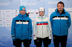 Anze Lanisek, Ursa Bogataj and Joze Bercic of Ski jumping team during presentation of Team Slovenia for 1st Winter Youth Olympic Games in Innsbruck, Austria from 13 to 22 January 2012, on January 4, 2012 in Bled, Slovenia. (Photo By Vid Ponikvar / Sportida.com)