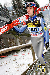 Janne Ahonen of Finland and Gregor Schlierenzauer of Austria during Trial round of the FIS Ski Jumping World Cup event of the 58th Four Hills ski jumping tournament, on January 6, 2010 in Bischofshofen, Austria. (Photo by Vid Ponikvar / Sportida)