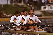 Bled, Slovenia, YUGOSLAVIA.  DDR/RDA. M4-. Bow, Jens LUEDECKE, Thomas GREINER, Ralf BRUDELand Olaf FOERSTER. 1989 World Rowing Championships, Lake Bled. [Mandatory Credit. Peter Spurrier/Intersport Images]