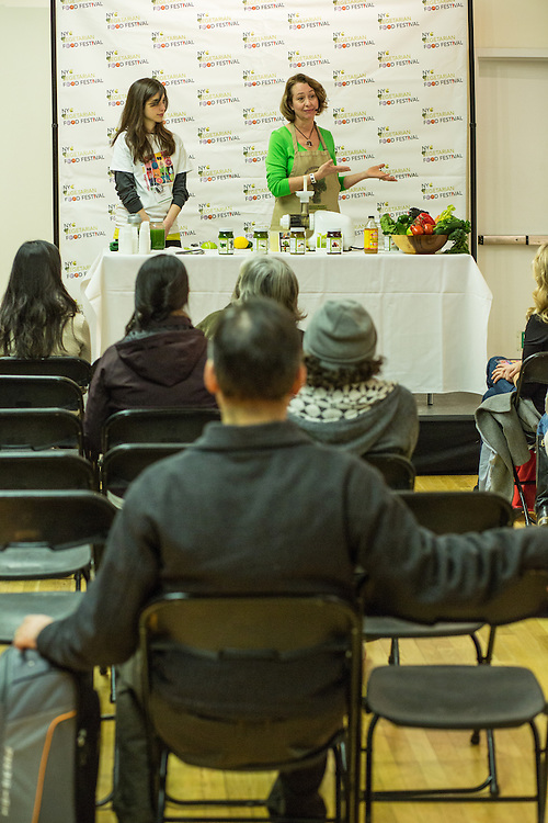 """Maureen Huntley gives a demonstration entitled """"From the Natural Kitchen."""" Demonstrations were held in multiple locations hroughout the festival."""