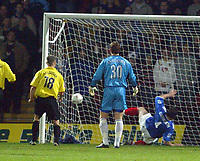 30/11/2004 - Watford v Portsmouth - Carling Cup - Quarter Final<br />Portsmouth's David Unsworth can only help Watford's Heidar Helguson's header into the net to opening the scoring as Portsmouth goalkeeper Jamie Ashdown can only watch.<br />Jed Leicester/Back Page Images