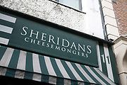Exterior Sheridans Cheesemongers in Temple Bar on 3rd April 2017 in Dublin, Republic of Ireland. Temple Bar is an area on the south bank of the River Liffey in central Dublin. Dublin is the largest city and capital of the Republic of Ireland.