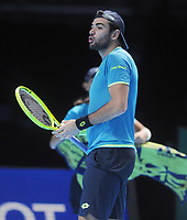 Tennis - 2019 Nitto ATP Finals at The O2 - Day Three<br /> <br /> Singles Group Bjorn Borg: Roger Federer (Switzerland) vs. Matteo Berrettini (Italy)<br /> <br /> Matteo Berrettini (Italy) looks to his coach<br /> <br /> COLORSPORT/ANDREW COWIE