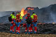 Rescue team at the eruption site in Geldingardalir. April 2021