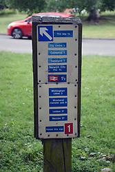 Walking distance sign, Norwich UK