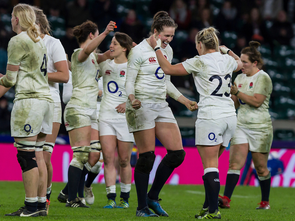 Celebrations after the final whistle, England Women v France Women in a 6 Nations match at Twickenham Stadium, London, England, on 4th February 2017 Final Score 26-13.