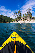 Kayaking in Emerald Bay at Fannette Island, Emerald Bay State Park, Lake Tahoe, California USA