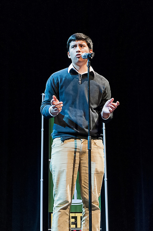 Michael Zambrano, a contestant in The  Poetry Out Loud, Regional 5,  competition at SOPAC.