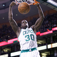 04 March 2012: Boston Celtics power forward Brandon Bass (30) dunks the ball during the Boston Celtics 115-111 (OT) victory over the New York Knicks at the TD Garden, Boston, Massachusetts, USA.
