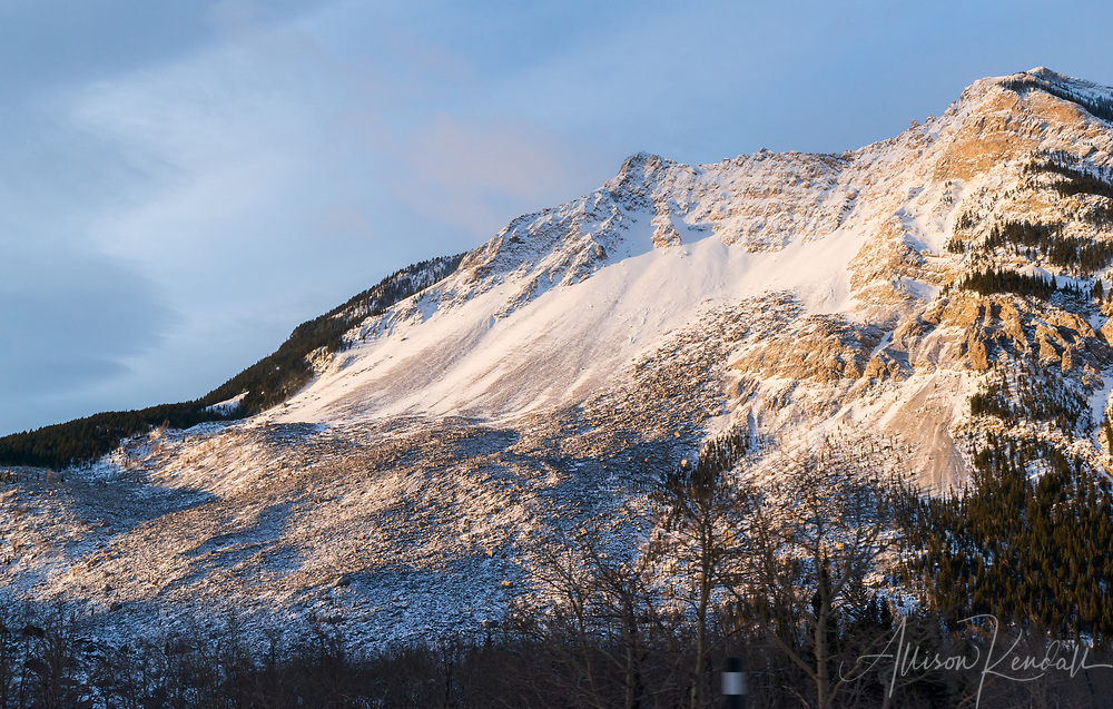 Frank Slide and debris field, at Turtle Mountain along the Crowsnest Highway in Alberta, Canada