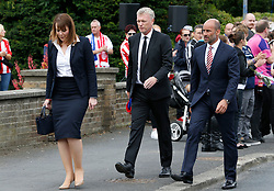 David Moyes (centre) outside St Joseph's Church in Blackhall, County Durham, where the funeral of Bradley Lowery, the six-year-old football mascot whose cancer battle captured hearts around the world, took place.