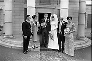 05/07/1967<br /> 07/05/1967<br /> 05 July 1967<br /> Wedding of George Walsh, eldest son of Mr and Ms Kevin G. Walsh, St. Rita's, Firhouse Road, Templeogue, Co. Dublin and Miss Arlene McMahon, elder daughter of Det. Chief Supt. Philip McMahon, Head of Special Branch, Dublin Castle and Mrs McMahon of Lisieux, Templeville Park, Templeogue, Co. Dublin who were married at the Carmelite Church, Terenure College, Dublin. An Taoiseach Mr Jack Lynch and Mrs Lynch; Mr Liam Cosgrave, leader Fine Gael and Mrs Cosgrave were among the 120 guests. Rev Fr H.E. Wright, O. Carm., Moate, officiated at the ceremony. The reception was held at Downshire Hotel, Blessington, Co. Wicklow. The bride and groom with the bride's family outside the church.
