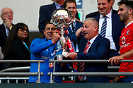 York City manager Gary Mills withe the trophy during the FA Trophy match between Macclesfield Town and York City at Wembley Stadium, London, England on 21 May 2017. Photo by Simon Davies.