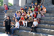 Armenia, Garni temple a Hellenistic temple to Helios the roman god of the Sun. School children on a field day