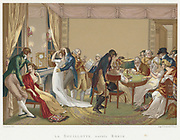 La Bouillotte, early 19th century. Scene of men and women in French Empire fashons at an evening entertainment watching a game of Bouillotte in progress at the card table.  On the other side of the room  by the fireplace two couples flirt, while an elderly man reads the 'Journal du Commerce'.  On the mantelpiece are a clock and two candlesticks and above it a large mirror reflects and increases the light from the candles and two oil lamps.
