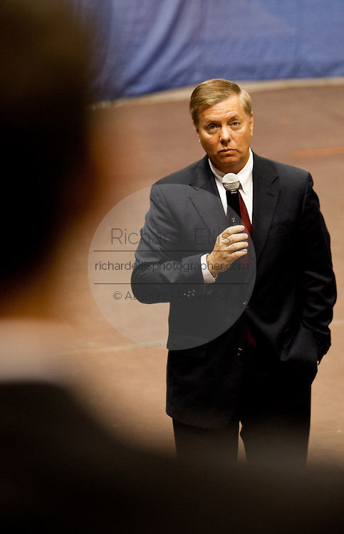 Sen. Lindsay Graham (R-SC) listens to a question from the audience during a health care town hall meeting with fellow Republican Sen. John McCain (R-AZ) September 14, 2009 at the Citadel in Charleston, SC.