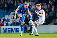 Gillingham FC forward Tom Eaves (9) has a shot during the EFL Sky Bet League 1 match between Gillingham and Rochdale at the MEMS Priestfield Stadium, Gillingham, England on 30 March 2019.