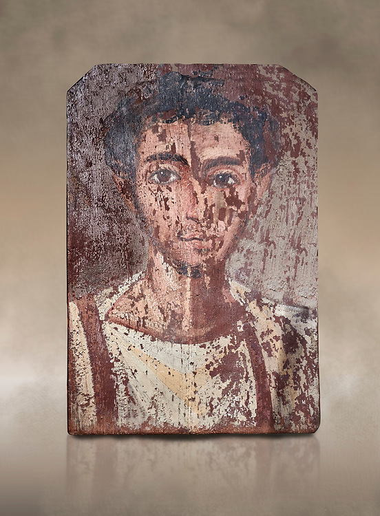 Egyptian Roman mummy portrait or Fayum mummy portrait painted panel of a man, Roman Period, 1st to 3rd cent AD, Egypt. Egyptian Museum, Turin. <br /> <br /> Mummy portraits or Fayum mummy portraits (also Faiyum mummy portraits) are a type of naturalistic painted portrait on wooden boards attached to Upper class mummies from Roman Egypt. They belong to the tradition of panel painting, one of the most highly regarded forms of art in the Classical world. he portraits covered the faces of bodies that were mummified for burial. Extant examples indicate that they were mounted into the bands of cloth that were used to wrap the bodies. .<br /> <br /> If you prefer to buy from our ALAMY PHOTO LIBRARY  Collection visit : https://www.alamy.com/portfolio/paul-williams-funkystock/ancient-egyptian-art-artefacts.html  . Type -   Turin   - into the LOWER SEARCH WITHIN GALLERY box. Refine search by adding background colour, subject etc<br /> <br /> Visit our ANCIENT WORLD PHOTO COLLECTIONS for more photos to download or buy as wall art prints https://funkystock.photoshelter.com/gallery-collection/Ancient-World-Art-Antiquities-Historic-Sites-Pictures-Images-of/C00006u26yqSkDOM