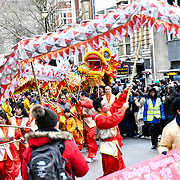 London, UK. 10th Feb 2019. Chinese community hold the annual new year many of parade from China that this year celebrates the year of the Pig in London.