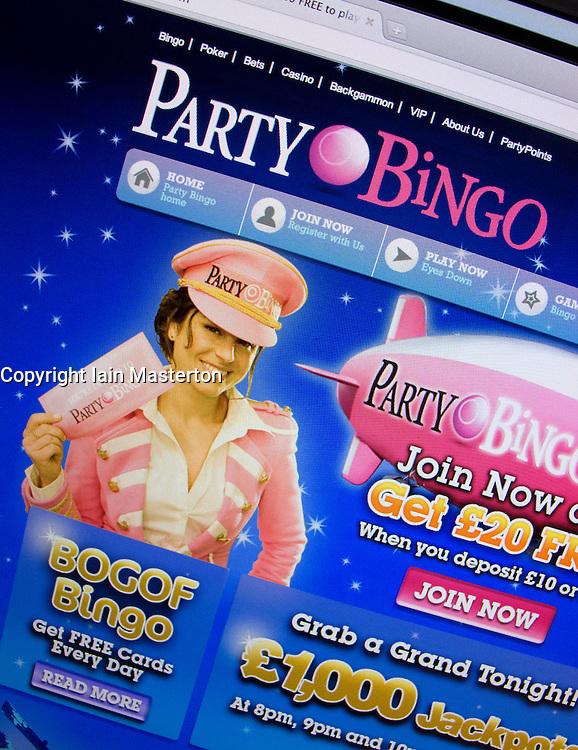 Detail of online bingo website PartyBingo homepage screen shot
