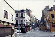 """photograph taken in July 1986 Old Dublin.<br /> The Norseman Pub. situated  on the corner at 28E Essex St E, Temple Bar, Dublin City. This is a Victorian pub located in the heart of the thriving Temple Bar one of the hotspots of Dublin tourism. well known for good food and the """"Craic"""" it is very popular with both locals and tourists  <br /> alike. Accommodation is also available here."""
