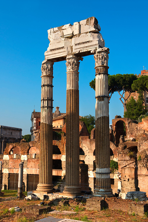 The Temple of Castor and Pollux, The Forum Rome .<br /> <br /> Visit our ITALY HISTORIC PLACES PHOTO COLLECTION for more   photos of Italy to download or buy as prints https://funkystock.photoshelter.com/gallery-collection/2b-Pictures-Images-of-Italy-Photos-of-Italian-Historic-Landmark-Sites/C0000qxA2zGFjd_k<br /> .<br /> <br /> Visit our ROMAN ART & HISTORIC SITES PHOTO COLLECTIONS for more photos to download or buy as wall art prints https://funkystock.photoshelter.com/gallery-collection/The-Romans-Art-Artefacts-Antiquities-Historic-Sites-Pictures-Images/C0000r2uLJJo9_s0