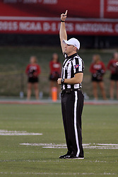 02 September 2017:   Matt Packowski announces the infraction call and signals to the score keeper during the Butler Bulldogs at  Illinois State Redbirds Football game at Hancock Stadium in Normal IL (Photo by Alan Look)