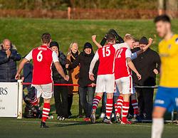 Broxburn Athletic's Conor Kelly cele scoring their third goal. Broxburn Athletic FC 3 v 0 Cowdenbeath, William Hill Scottish Cup 2nd Round replay played 26/10/2019 at Albyn Park, Greendykes Road, Broxburn.