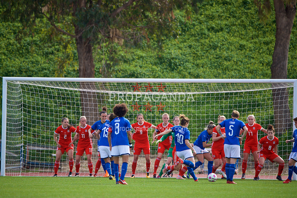 LARNACA, CYPRUS - Friday, March 2, 2018: Italy's Christiana Girelli scores the second goal from a free-kick inside the penalty area during the Cyprus Women's Cup Group A match between Wales and Italy on day four of the Cyprus Cup tournament at the GSZ Stadium Stadium. (Pic by David Rawcliffe/Propaganda)
