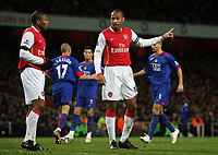 "Photo: Paul Thomas.<br /> Arsenal v Manchester United. The Barclays Premiership. 21/01/2007.<br /> <br /> Thierry Henry of Arsenal lays down the tactics to his players, ""down the other end boys and we can win""."