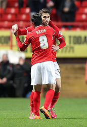 Charlton Athletic's Astrit Ajdarevic celebrates scoring his sides first goal with Charlton Athletic's Reza Ghoochannejhad 1-0 - Photo mandatory by-line: Robin White/JMP - Tel: Mobile: 07966 386802 08/04/2014 - SPORT - FOOTBALL - The Valley - Charlton - Charlton Athletic v Yeovil Town - Sky Bet Championship