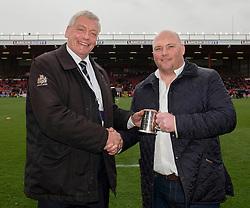 Presentation to Jason Hobson - Photo mandatory by-line: Dougie Allward/JMP - Mobile: 07966 386802 - 29/03/2015 - SPORT - Rugby - Bristol - Ashton Gate - Bristol Rugby v Bedford Blues - Greene King IPA Championship